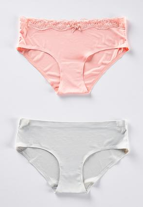 Silky Pink And Gray Panty Set