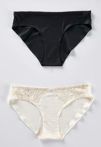 Silky Black And Ivory Panty Set