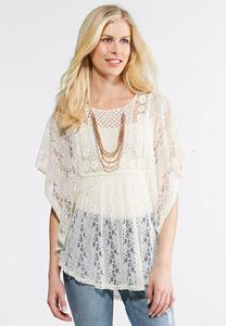 Plus Size Allover Crochet Capelet