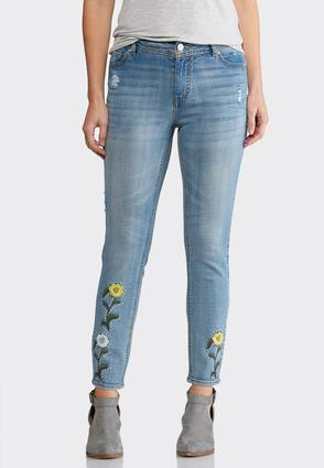 Studded Floral Embroidered Jeans | Tuggl