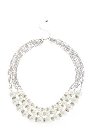 Layered Rhinestone Pearl Necklace at Cato in Brooklyn, NY | Tuggl