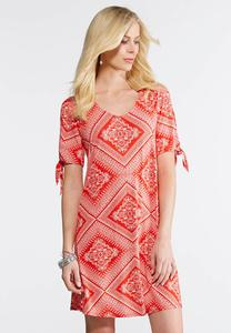 Plus Size Bandana Slit Sleeve Dress