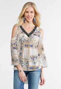 Bead Embellished Cold Shoulder Top