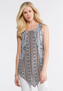 Paisley Stripe Pointed Hem Tank