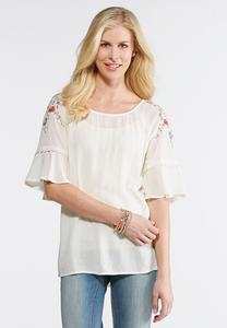 Plus Size Embroidered Lace Trim Top