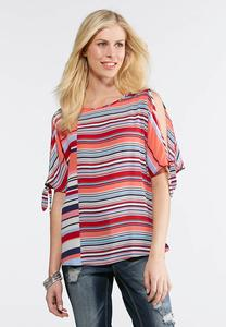 Americana Stripe Cold Shoulder Top