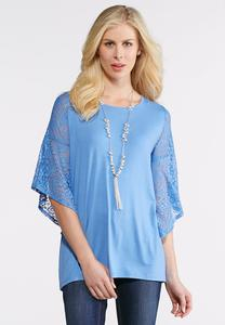 Plus Size Lace Bell Sleeve Knit Top