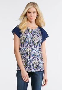 Plus Size Woven Sleeve Printed Top