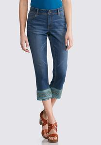 Tapestry Hem Cropped Jeans