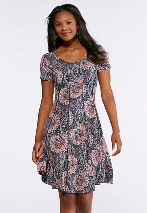 Plus Size Seamed Melon Blue Paisley Dress