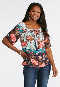 Plus Size Floral Bird Top