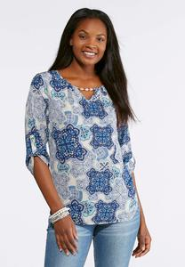 Plus Size Medallion Pearl Embellished Top