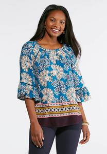 Plus Size Blue Mixed Floral Top