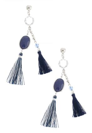 Two-Toned Double Tassel Earrings | Tuggl