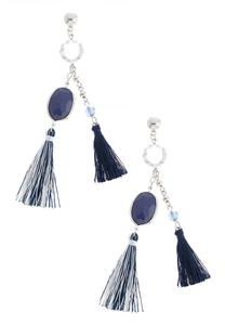 Two-Toned Double Tassel Earrings