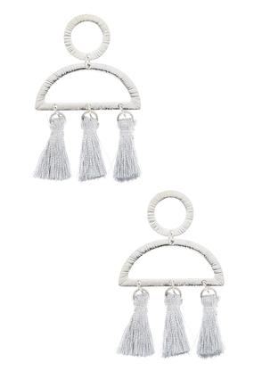 Triple Tassel Post Back Earrings | Tuggl