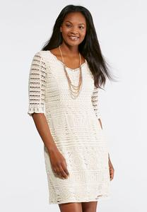 Plus Size Natural Crochet Sheath Dress