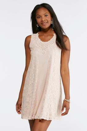 Taupe Lace Swing Dress