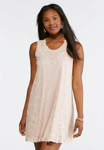 Plus Size Taupe Lace Swing Dress