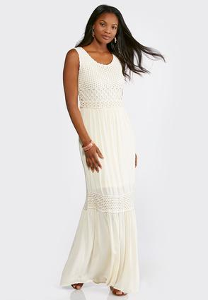 Petite Tiered Crochet Trim Maxi Dress at Cato in Brooklyn, NY | Tuggl