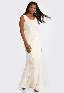 Petite Tiered Crochet Trim Maxi Dress