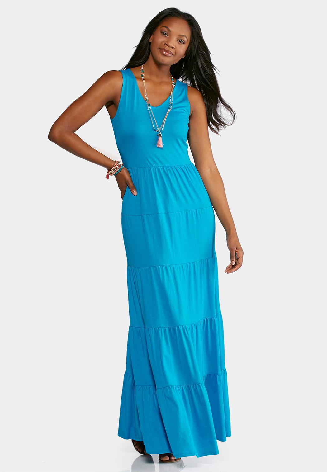 Plus Size Solid Tiered Maxi Dress Dresses Cato Fashions