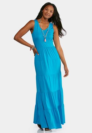 Plus Size Solid Tiered Maxi Dress