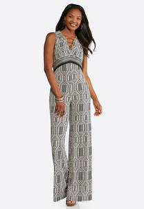 Plus Size Geo Print Wide Leg Jumpsuit