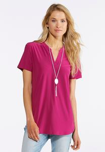 Plus Size Solid Stretch Popover Top