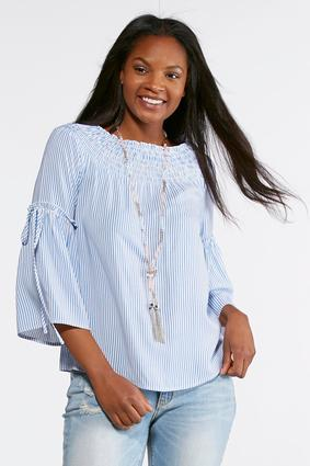 Smocked Blue And White Striped Top