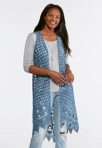 Crochet And Scalloped Hem Vest