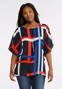 Plus Size Geo Flutter Sleeve Top