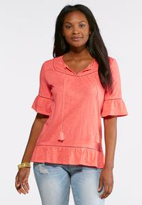 Plus Size Tasseled Bell Sleeve Top