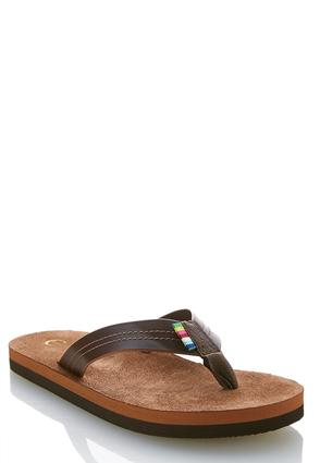 Classic Faux Leather Flip Flops