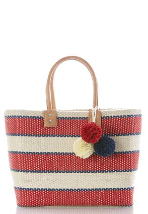 Striped Pom Woven Tote at Cato in Brooklyn, NY | Tuggl