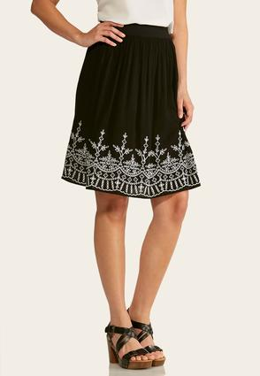 Embroidered Gauze Midi Skirt