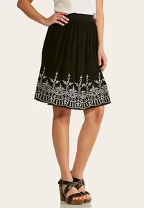 Plus Size Embroidered Gauze Midi Skirt