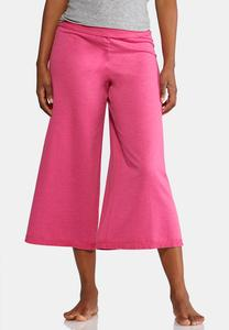 Cropped Berry Wide Leg Pants