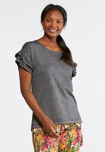 Plus Size Ruffled Sleeve Slub Tee