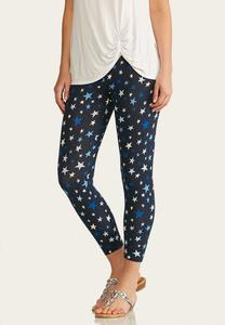 Shades Of Blue Star Cropped Leggings
