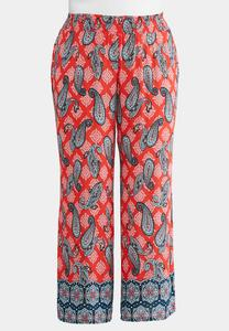 Plus Size Bordered Paisley Wide Leg Pants