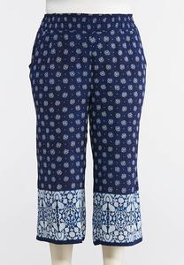 Plus Size Cropped Bordered Print Pants