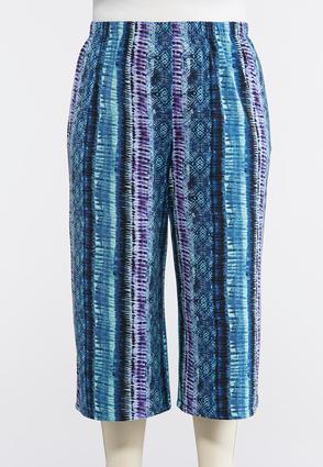 Plus Size Tie Dye Cropped Palazzo Pants | Tuggl