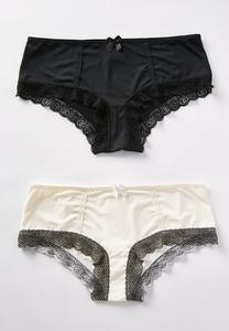 Plus Size Lace Trim Panty Set