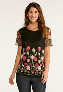 Plus Size Floral Embroidered Mesh Top