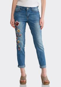 Floral Embroidered Ankle Jeans
