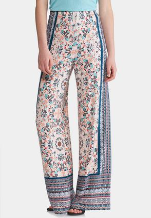 Bordered Floral Palazzo Pants at Cato in Lewisburg, TN | Tuggl