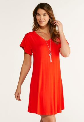 Flutter Sleeve Tee Shirt Swing Dress | Tuggl
