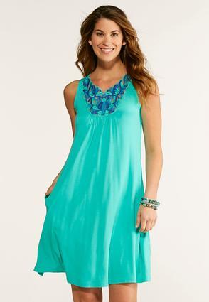 Plus Size Embroidered Bib Swing Dress | Tuggl