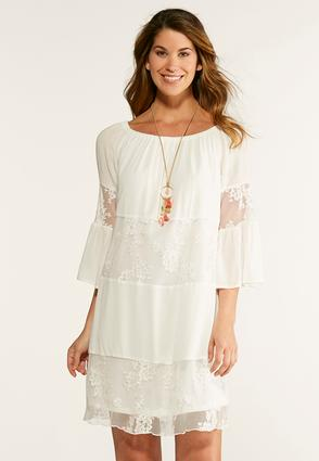 Lace Inset Peasant Dress | Tuggl